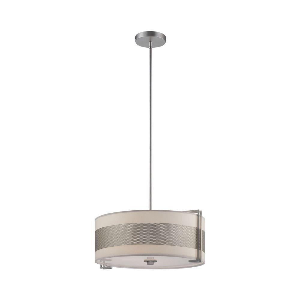 Illumine Rosenda 3-Light Stainless Steel Pendant with White Paper Shade