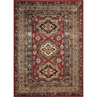 Randy Medieval Transitional Red 9 ft. x 12 ft. Indoor/Outdoor Area Rug