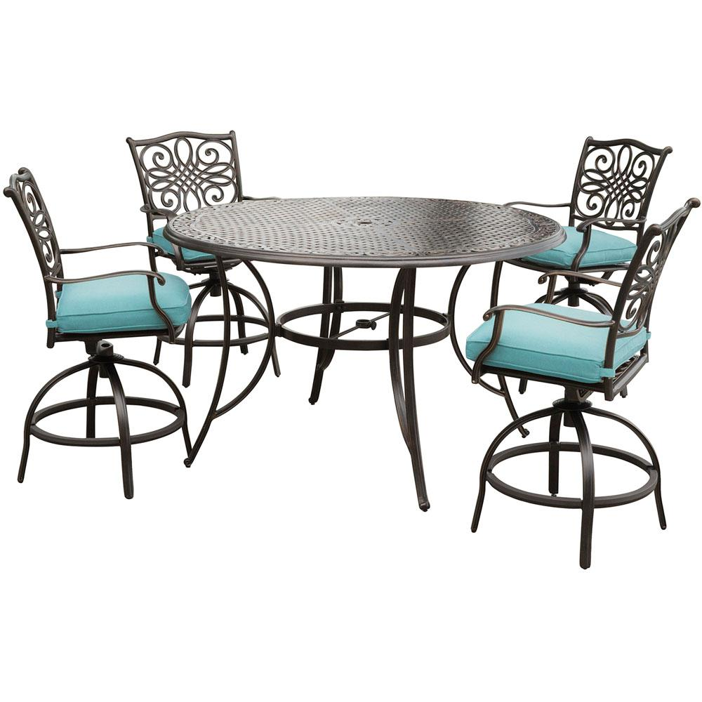 Hanover Traditions 5 Piece Aluminum Round Outdoor Bar Height Dining Set With Swivel Chairs Blue Cushions Traddn5pcbr Blu The Home Depot