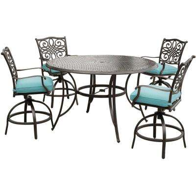 Traditions 5-Piece Aluminum Round Outdoor High Dining Set with Swivel Chairs with Blue Cushions