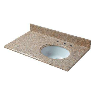 37 in. W Granite Vanity Top in Beige with Offset Right Bowl and 8 in. Faucet Spread
