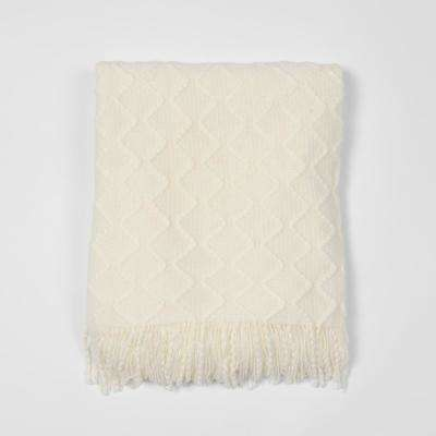 Textured Diamond Ivory Acrylic Throw