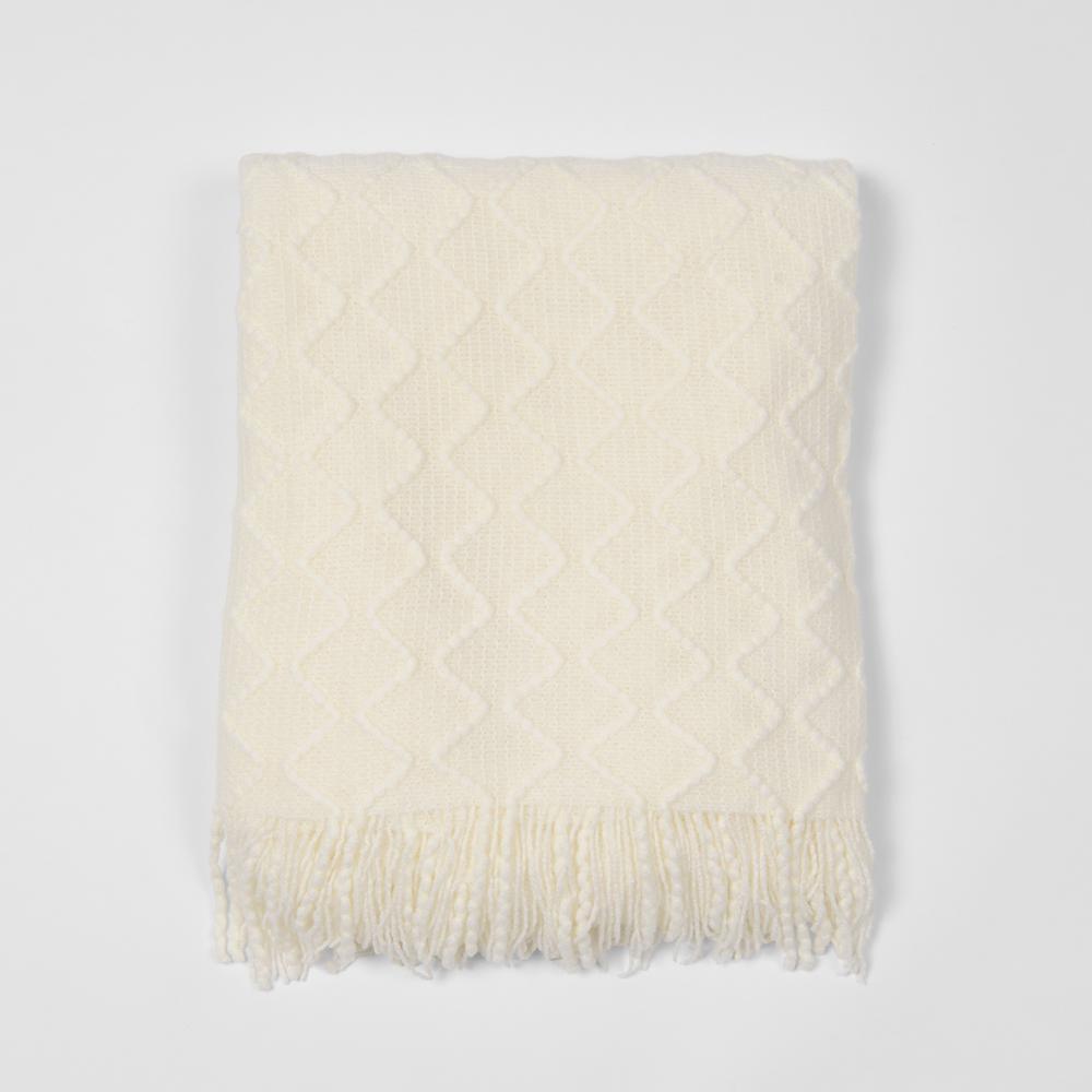 Textured Diamond Ivory Acrylic Throw