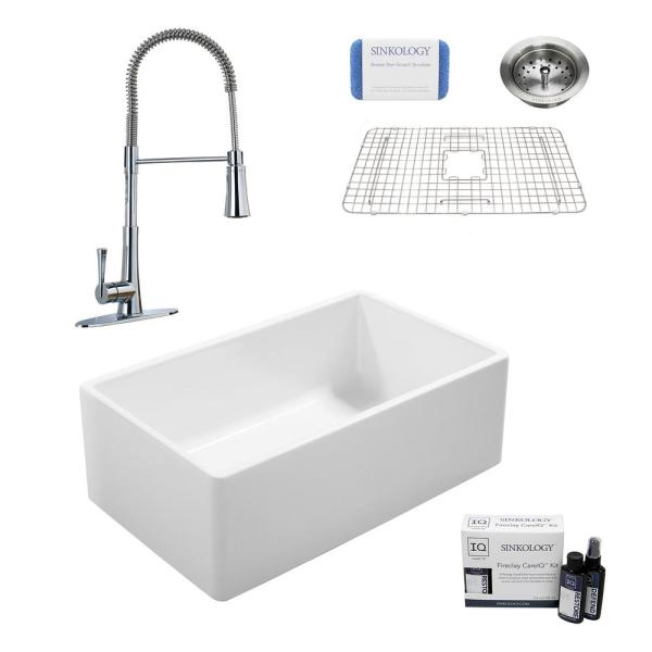 Ward All-in-One Fireclay 33 in. Single Bowl Farmhouse Kitchen Sink with Pfister Chrome Faucet and Drain