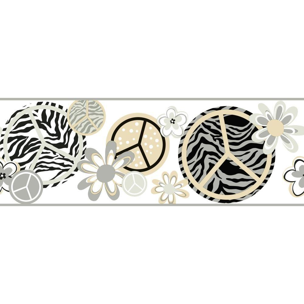 Cool Kids Peace/Zebra Wallpaper Border