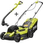 13 in. ONE+ 18-Volt Lithium-Ion Battery Walk Behind Push Lawn Mower & String Trimmer - 4.0 Ah Battery/Charger Included