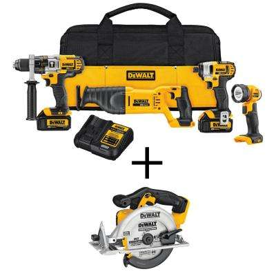 20-Volt MAX Lithium-Ion Cordless Combo Kit (4-Tool) with Bonus Bare 6-1/2 in. Circular Saw