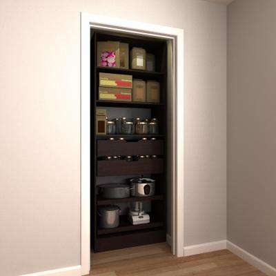 30 in. W x 15 in. D x 84 in. H Melamine Pantry Organizer Kit with Slide-Outs in Mocha