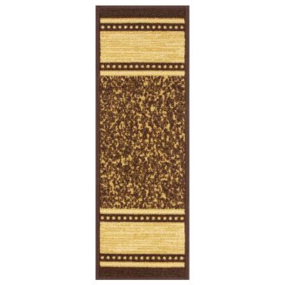 Ottohome Collection Contemporary Bordered Design Brown 8.5 in. x 26 in. Non-Slip Pet-Friendly Stair Tread (Set of 7)
