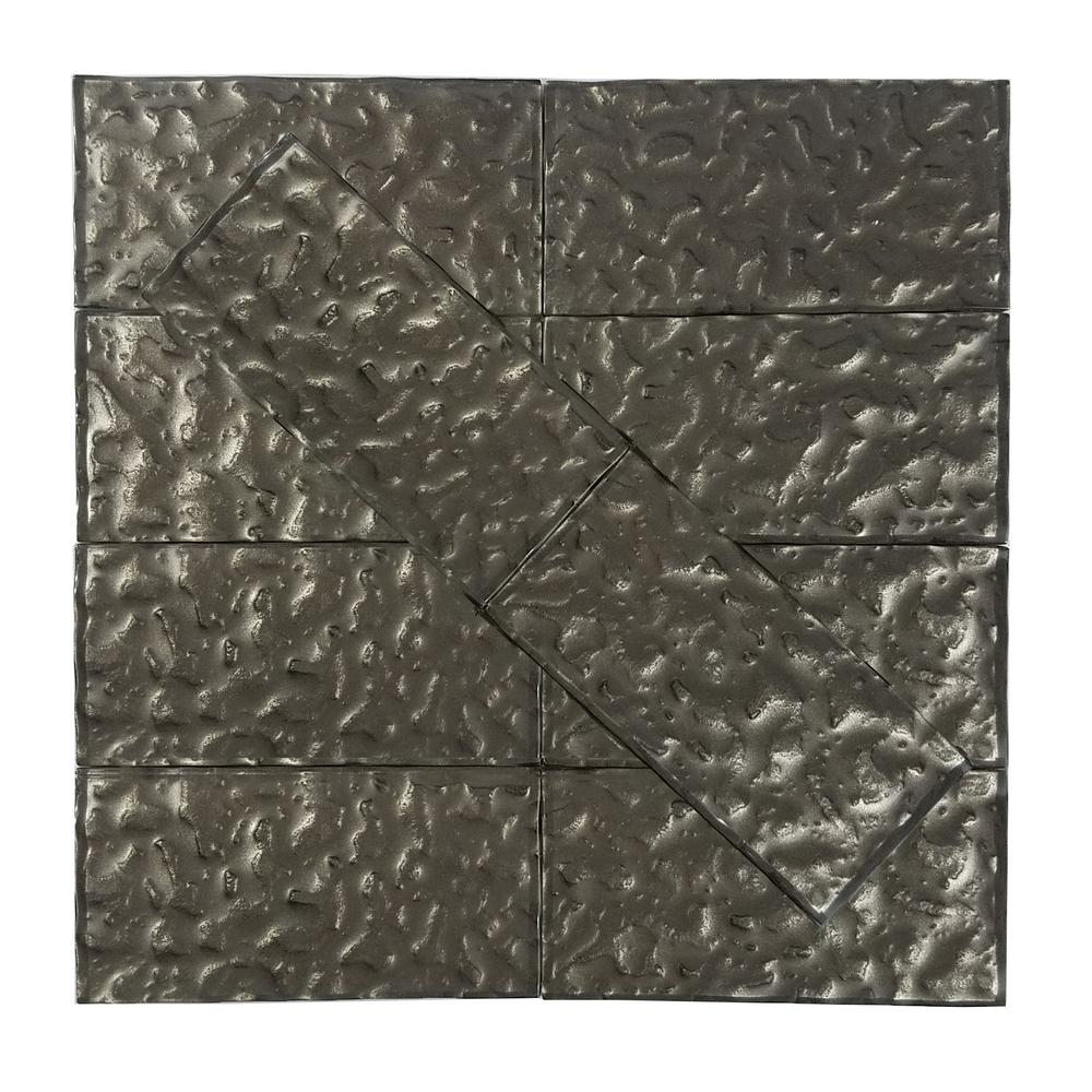 Metallics Brown Wavy 3 In. X 6 In. Glass Wall Tile