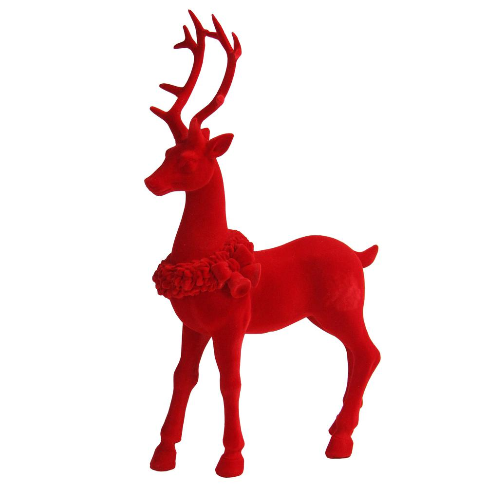 - Northlight 13.25 In. Red Standing Velvet Reindeer Christmas Figure