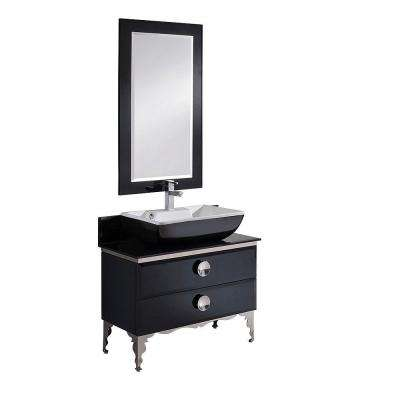 Moselle 36 in. Vanity in Black with Tempered Glass Vanity Top in Black, White Basin and Mirror