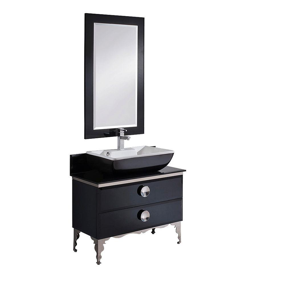 Vanity In Black With Tempered Glass Vanity Top In Black,