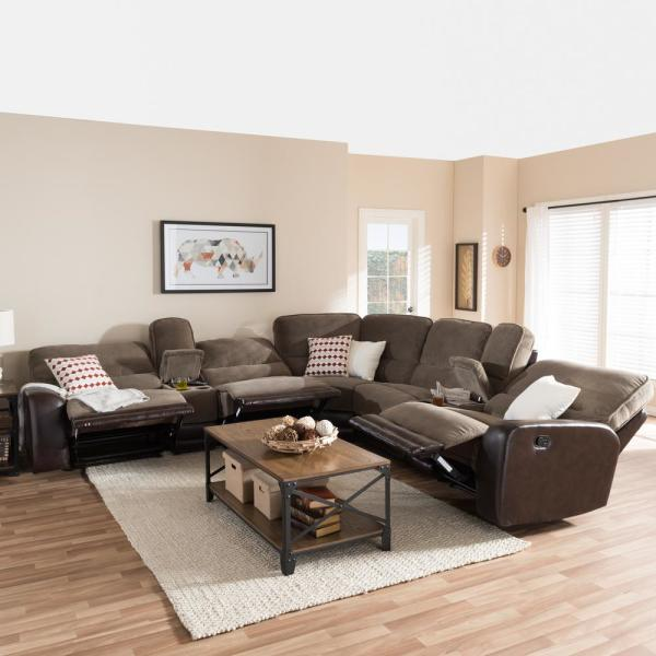 Baxton Studio Richmond 6 Piece Contemporary Taupe Fabric Upholstered L Shaped Sectional Sofa