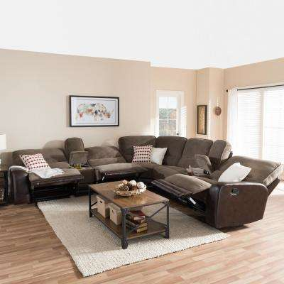 Richmond 6 Piece Contemporary Taupe Fabric Upholstered L Shaped Sectional  Sofa