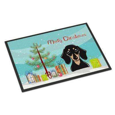 18 in. x 27 in. Indoor/Outdoor Christmas Tree and Smooth Black and Tan Dachshund Door Mat