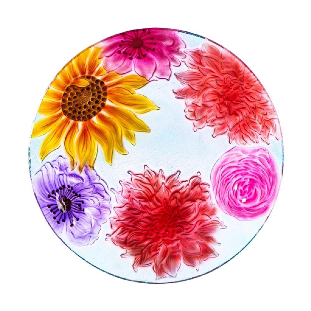 Floral 18 in. Glass Birdbath