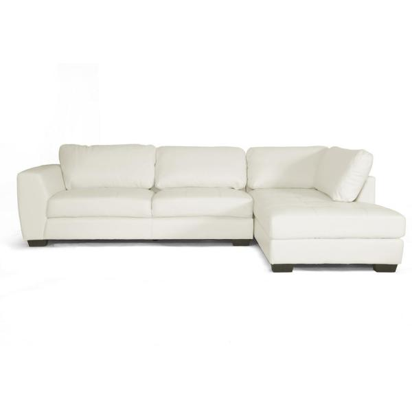 Baxton Studio Orland 2-Piece Contemporary White Faux Leather Upholstered Right