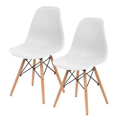 White Plastic Shell Chair (Set of 2)