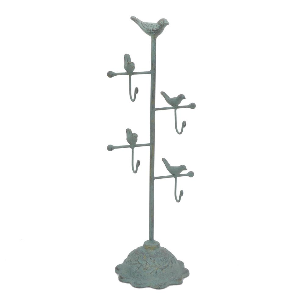THREE HANDS Antique Green Metal Jewelry Holder Three Hands presents this elegant jewelry stand that is perfect for all of your jewelry collection. This beautiful bird design organizer looks great on your dressing table and makes the best use of your space. With the help of this organizer, you can show off your most beautiful jewelry pieces. Color: Green.