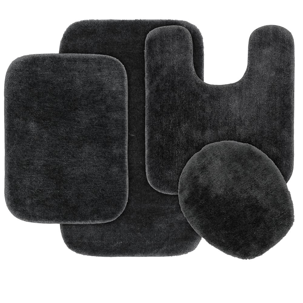 Traditional 4 Piece Washable Bathroom Rug Set in Dark Gray