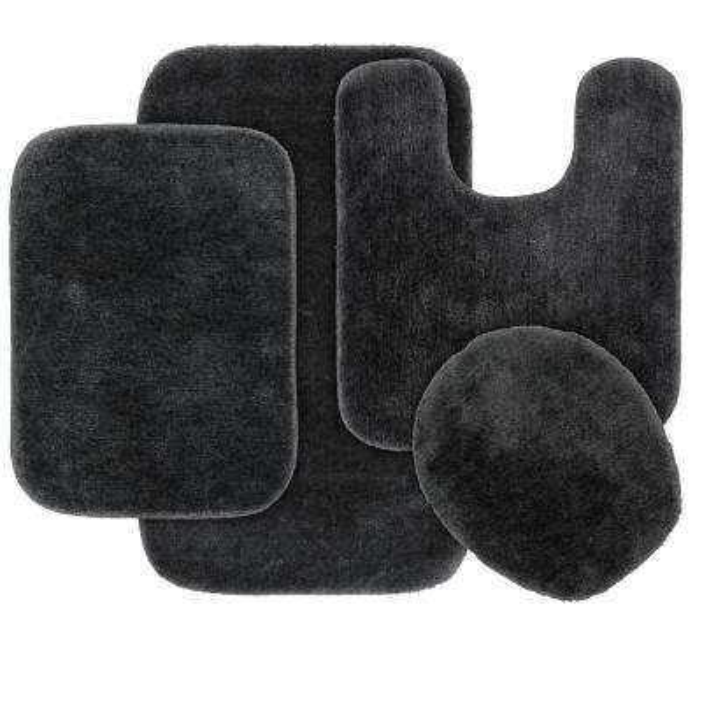Traditional 4 Piece Washable Bathroom Rug Set in Dark Gray