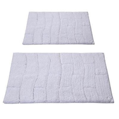White 17 in. x 24 in. and 24 in. x 40 in. New Tile Bath Rug Set (2-Piece)