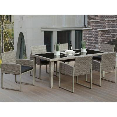 Napoli 7-Piece All-Weather Wicker Rectangular Outdoor Dining Set with Dark Brown Cushion
