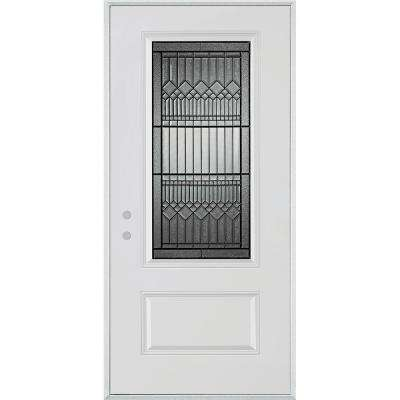 36 in. x 80 in. Lanza Patina 3/4 Lite 1-Panel Painted White Right-Hand Inswing Steel Prehung Front Door
