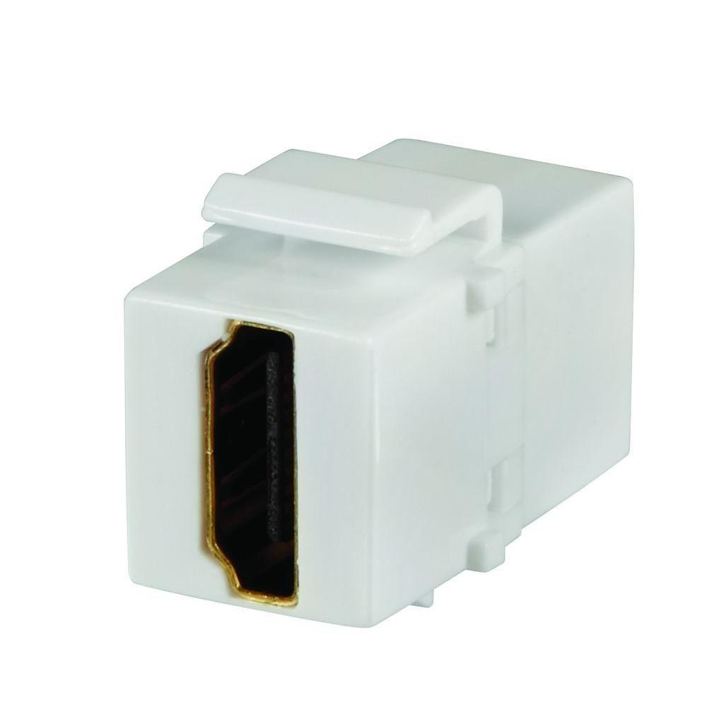 Wall Jacks Plates The Home Depot Rj45 To Bt Socket Wiring Hdmi Insert White