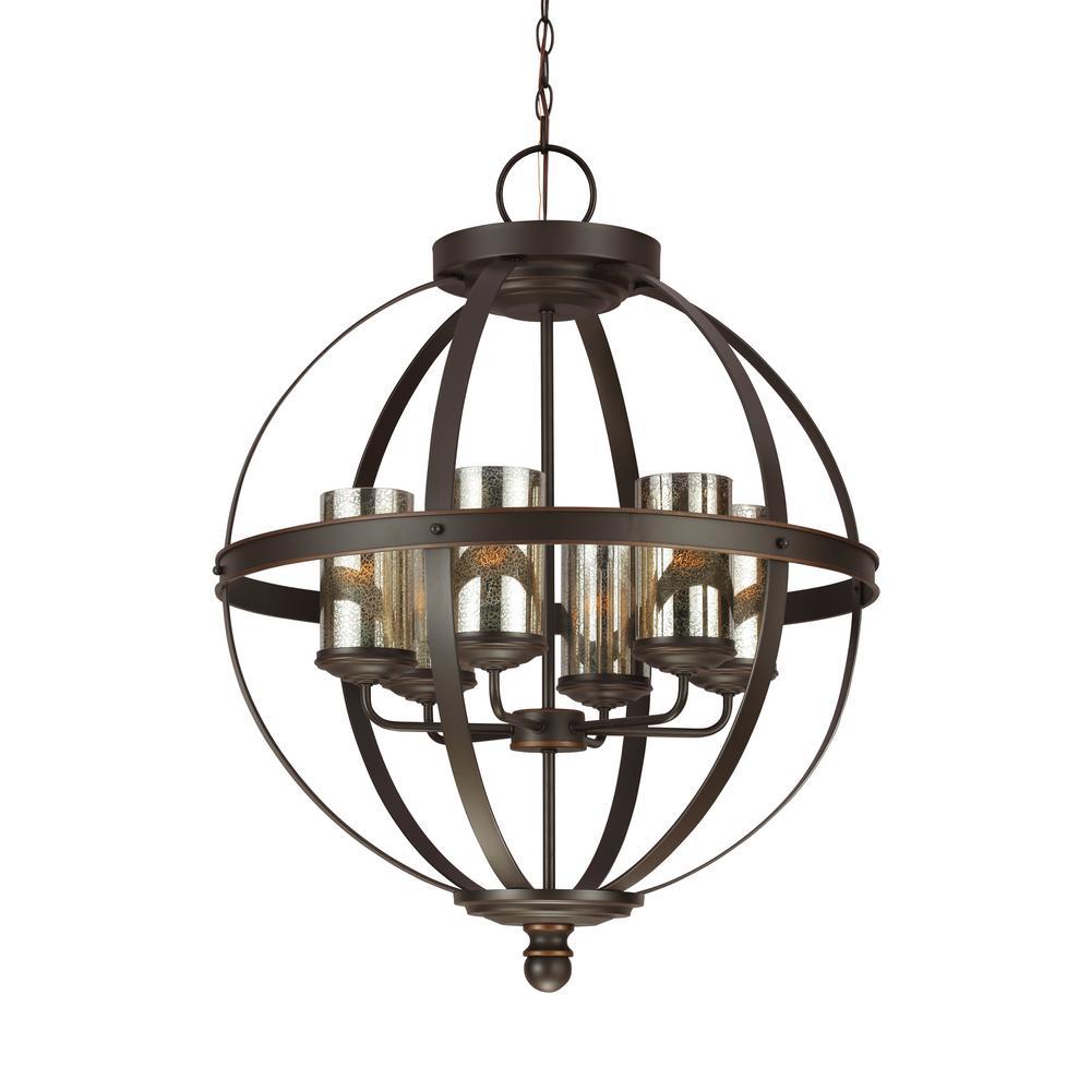 Sfera 6-Light Autumn Bronze Chandelier with LED Bulbs