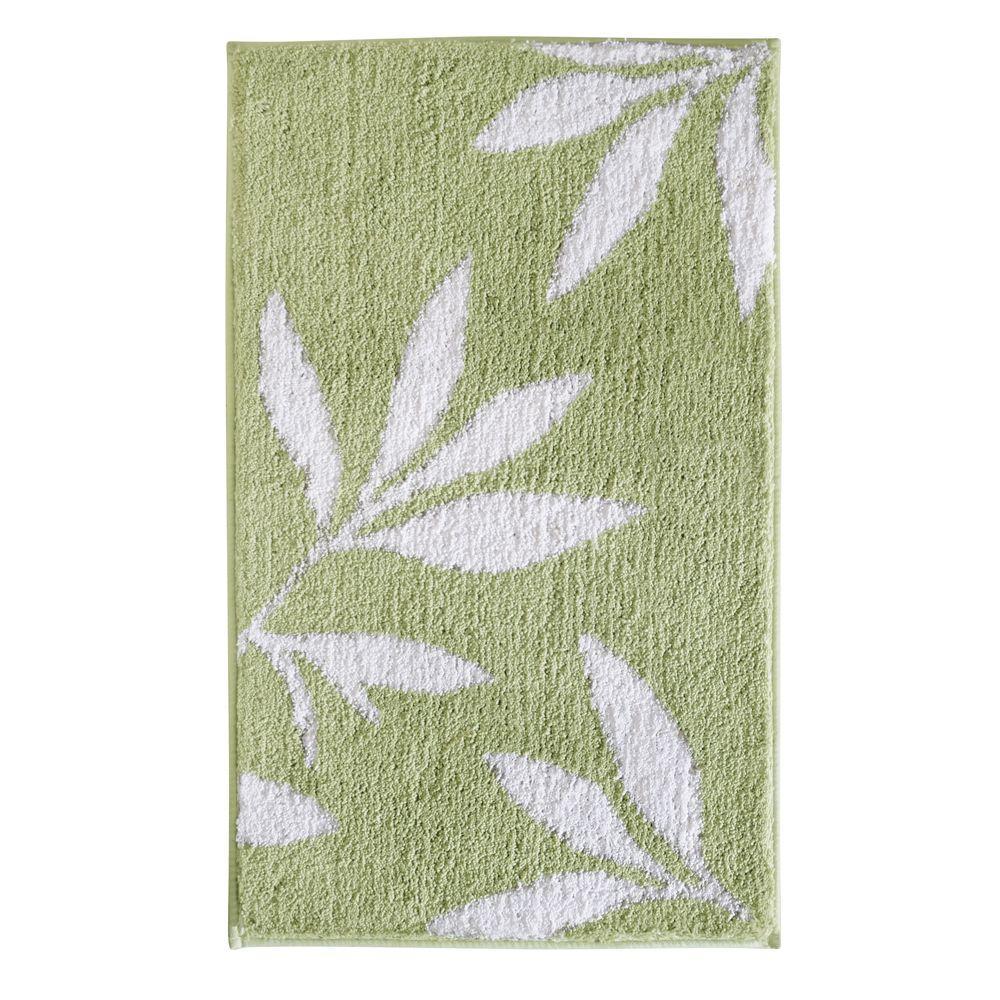 Leaves 34 in. x 21 in. Bath Rug in Green/White