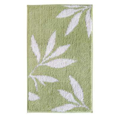Leaves 34 in. x 21 in. Bath Rug in Green/White