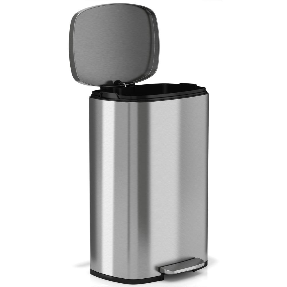 13 2 Gallon Step Trash Can Kitchen Stainless Steel Garbage