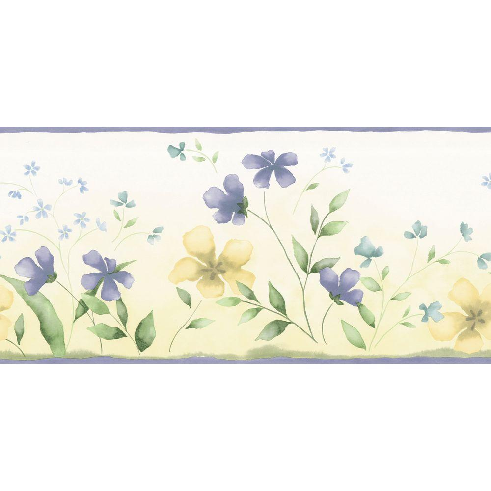 The Wallpaper Company 10.25 in. x 15 ft. Blue and Yellow Fresh Picked Border-DISCONTINUED