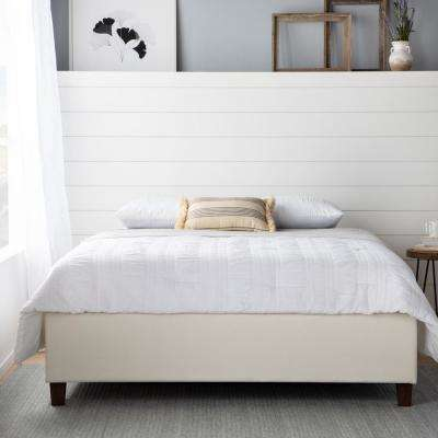 Ava Upholstered Platform Bed with Slats - Cream, Twin
