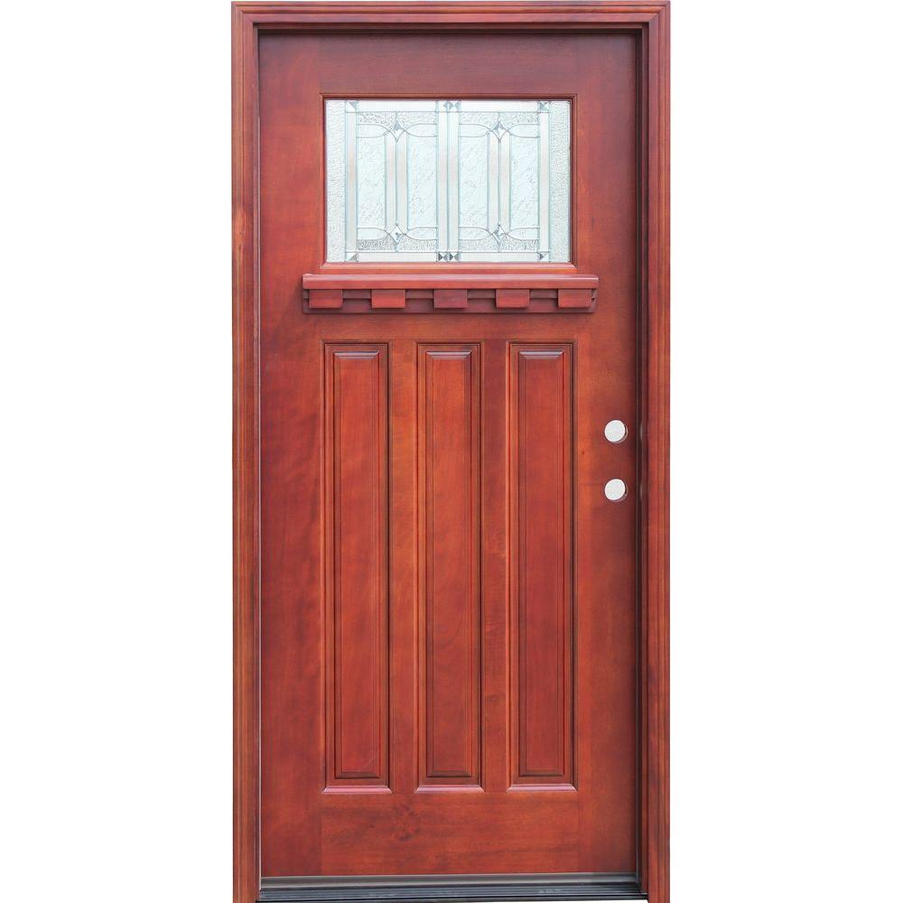 Pacific Entries 36 in. x 80 in. Craftsman 1 Lite Stained Mahogany Wood Prehung Front Door with Dentil Shelf 6 in. Wall Series