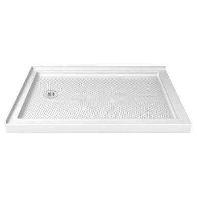 SlimLine 48 in. W x 36 in. D Double Threshold Shower Base in White with Left Hand Drain
