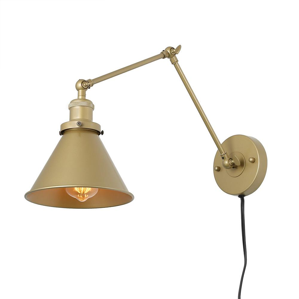 Lnc 1 light gold wall lamp adjustable plug in wall sconce