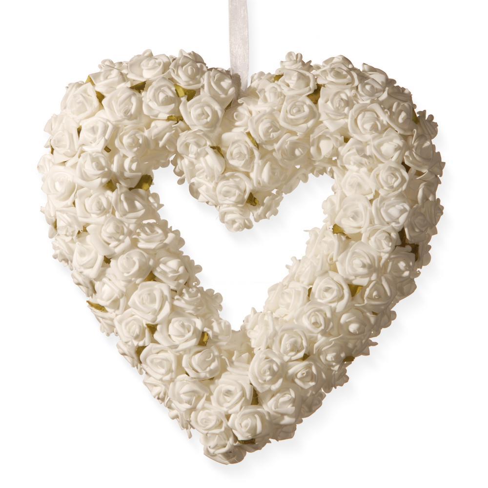 National Tree Company 9.5 in. Cream Rose Heart RAW-SAM8194