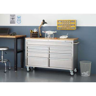 52 in. 9-Drawer Rolling Workbench in Stainless Steel