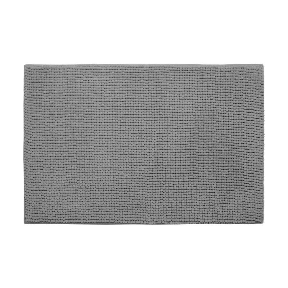 Plush Chenille Light Gray 17 in. x 24 in. Memory Foam Bath Mat