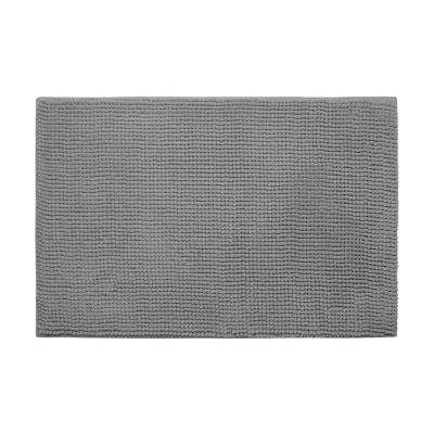 Plush Chenille Light Gray 17 in. x 24 in. Memory Foam Bath Mat