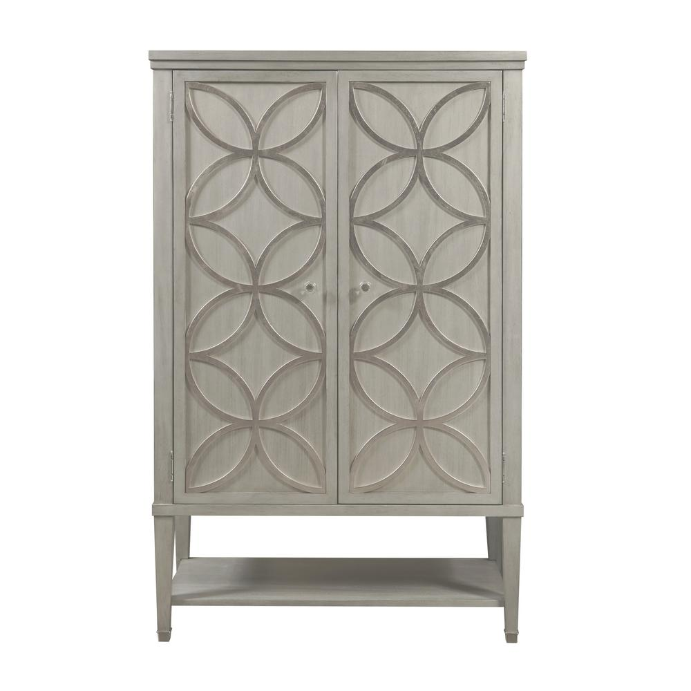 Modern Gray Storage Door Chest with Carved Silver Leaf Overlay