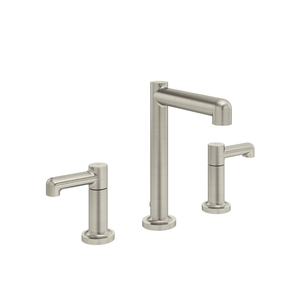 Symmons Museo 8 In. Widespread 2-Handle Bathroom Faucet With Pop-Up Drain Assembly In Satin