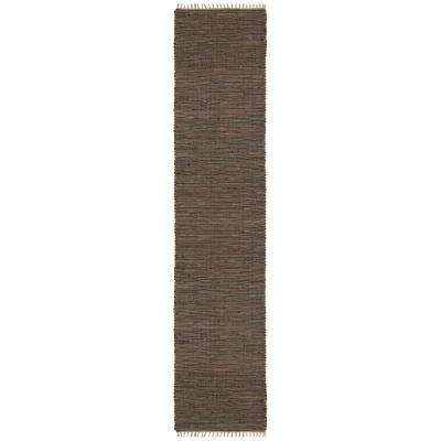 Brown Leather and Hemp 2 ft. 6 in. x 12 ft. Runner
