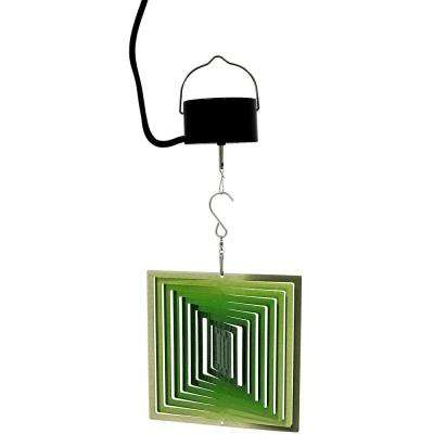 3D Green Square 6 in. Wind Spinner with Electric-Operated Motor