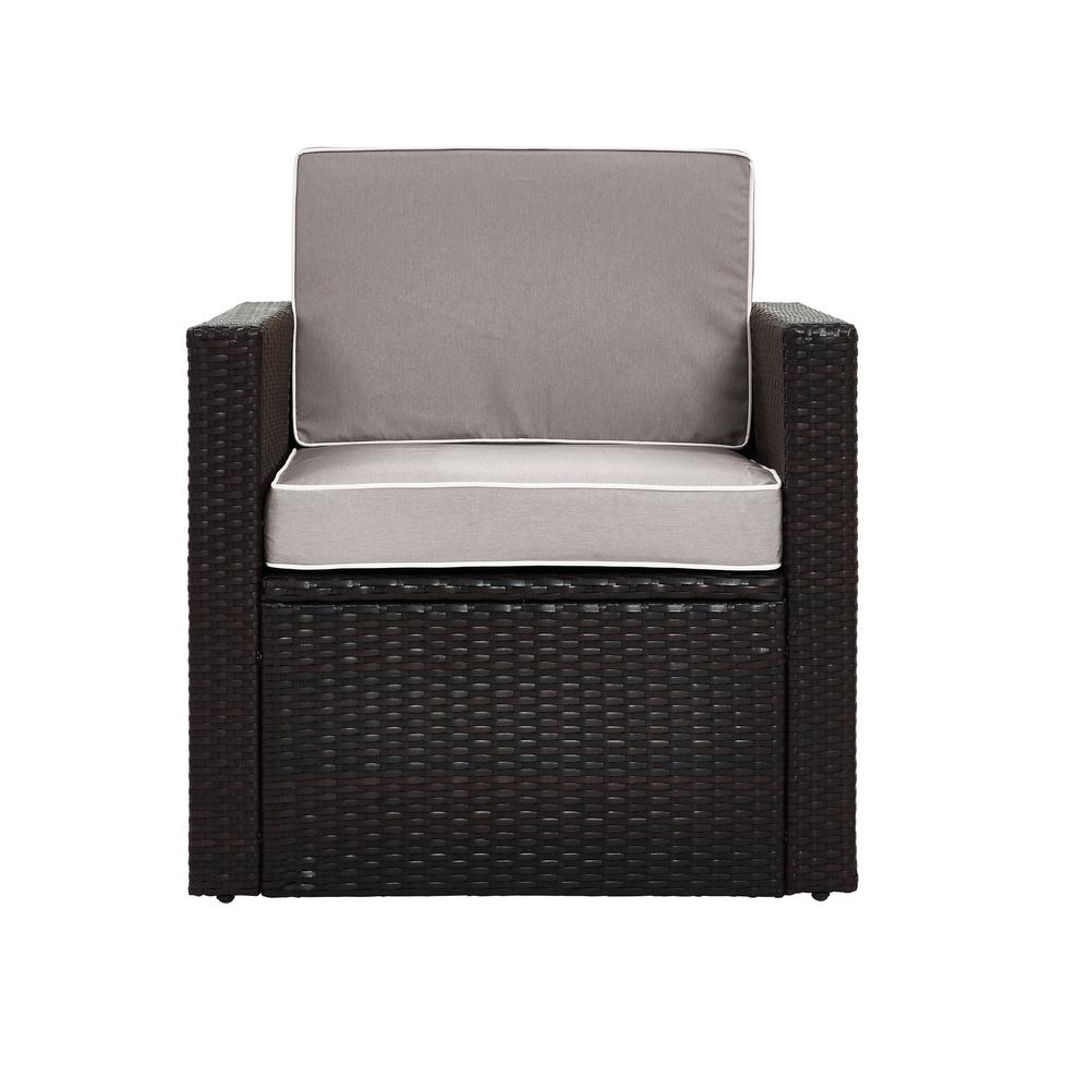 Palm Harbor Wicker Outdoor Patio Lounge Chair with Grey Cushions