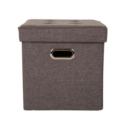 15 in. H Gray Cube Linen Foldable Storage Ottoman with Padded Seat