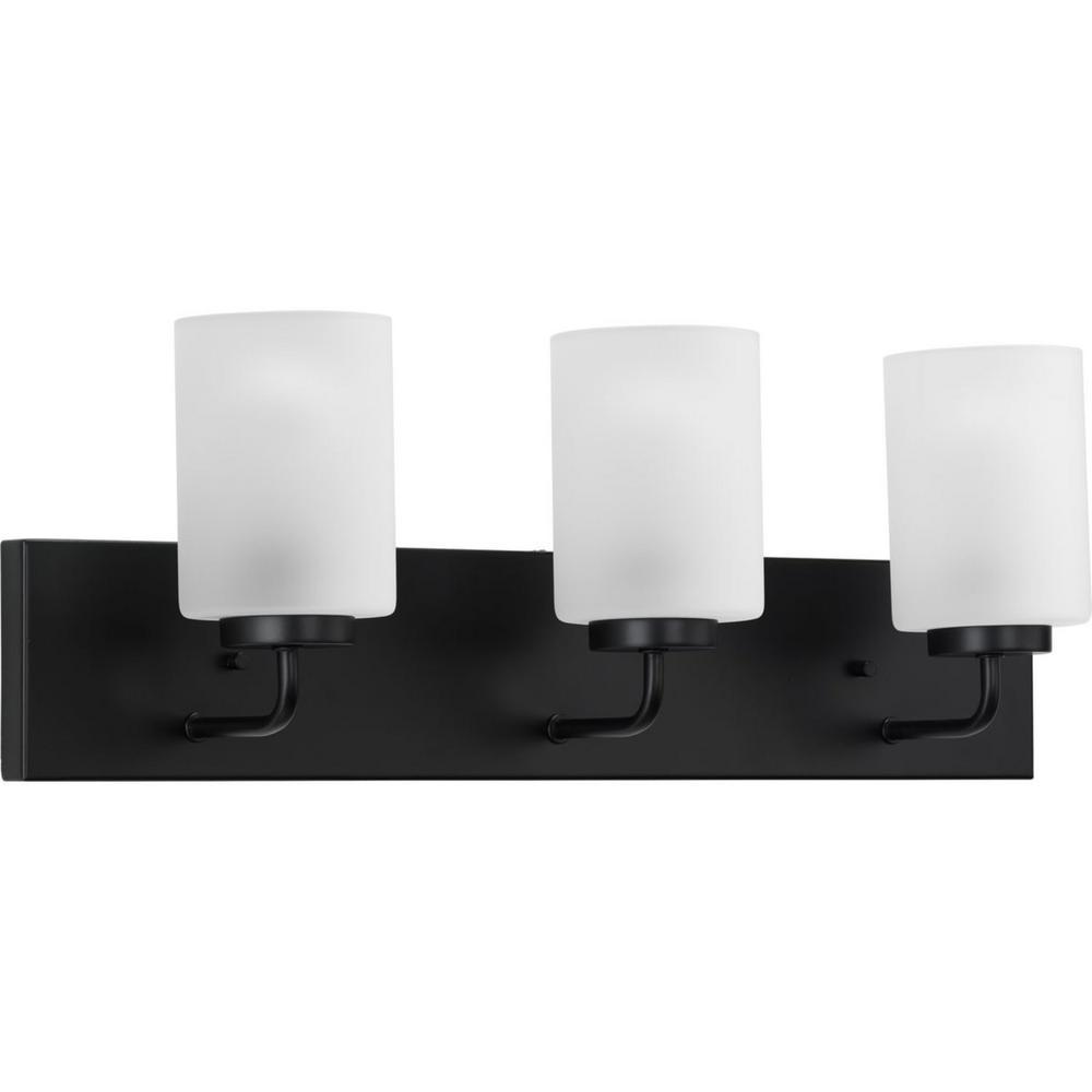 Progress Lighting Merry 3-Light Matte Black Etched Glass Transitional Bath Vanity Light